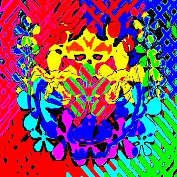 Psychedelic Rainbow Cat Man by JLHDesign