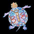 Sea Turtle - Folk Blue & Black Palette  by Andreea Dumez