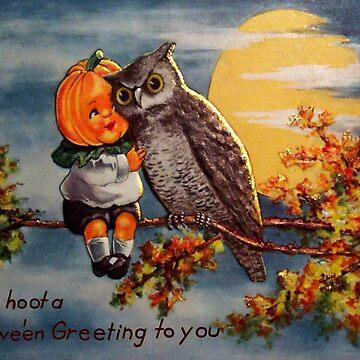 Vintage Halloween Pumpkin and Owl by AtticSalt