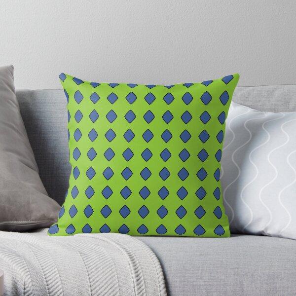Blue diamonds on a green background Throw Pillow