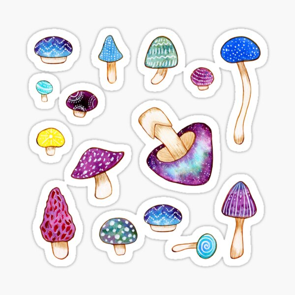 Red Watercolor Mushroom Patch