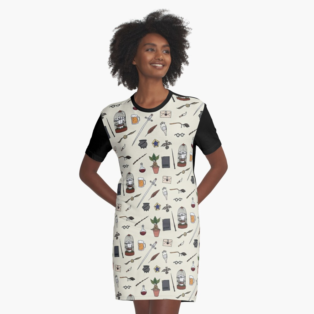 Owl and wand Graphic T-Shirt Dress