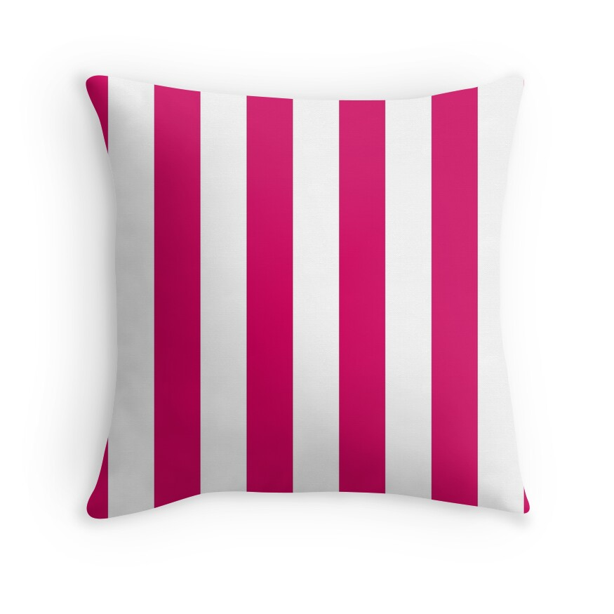 Bright Pink Peacock and White Wide Vertical Cabana Tent Stripe