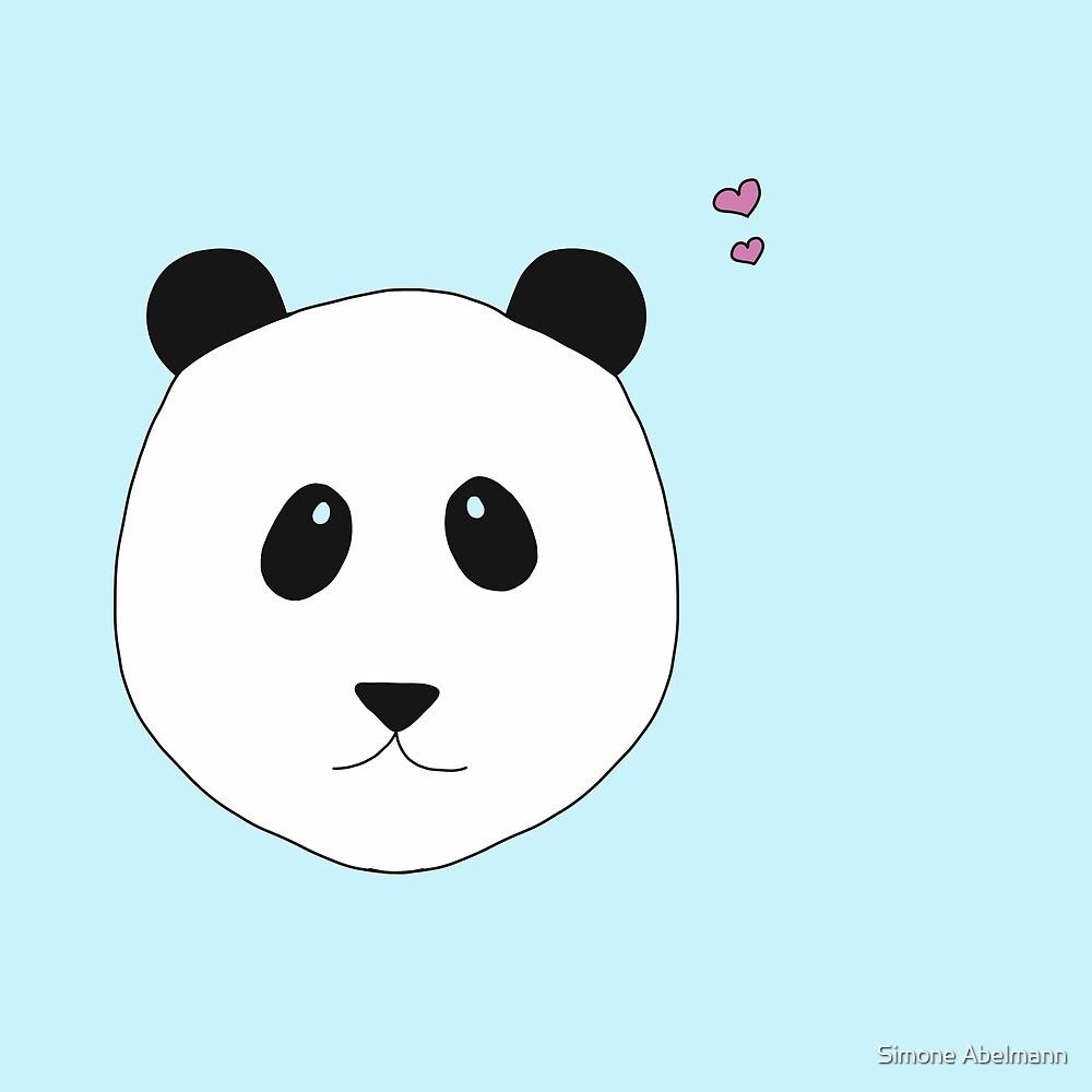 Panda Love in blau  von Simone Abelmann