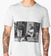 Playing Sax on River Walk Men's Premium T-Shirt