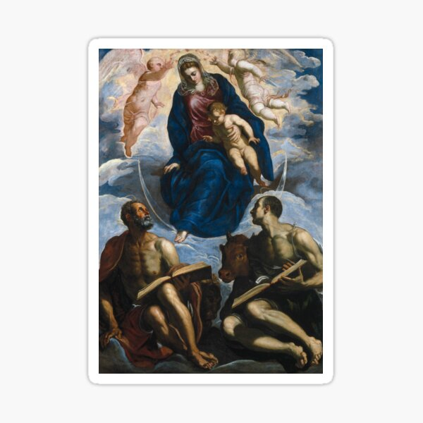 Mary with the Child, Venerated by St. Marc and St. Luke by Tintoretto Sticker
