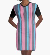 Fashion Super-cool Stylized Stripes Graphic T-Shirt Dress
