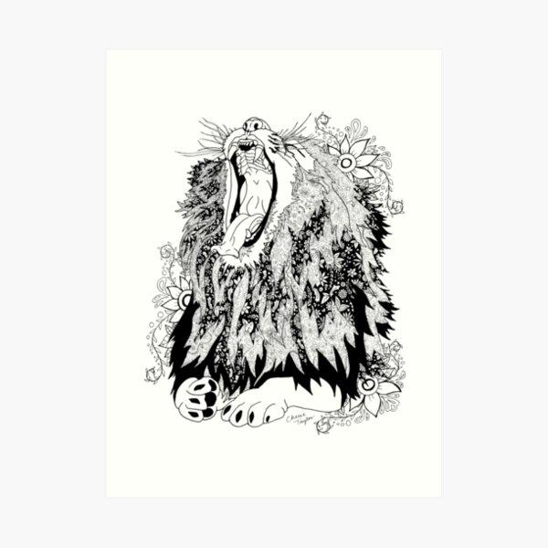 Funkadelic Lion (Black and White) Art Print