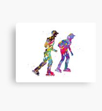 Roller skating couple Canvas Print