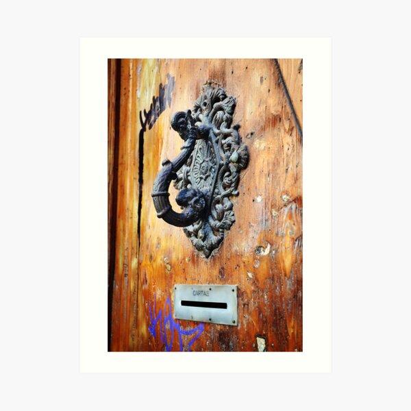 Door Knocker at Barri Gotic Art Print