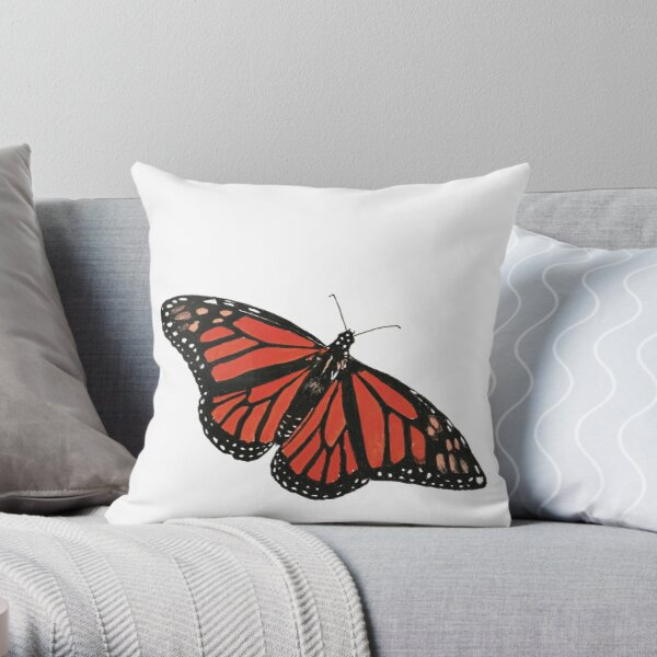 Orange Monarch Butterfly (Square Composition) Throw Pillow