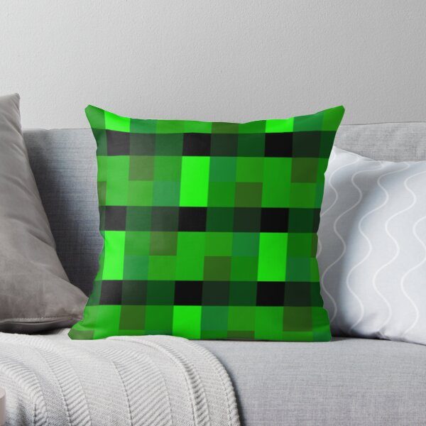 Green Techno Pixel Pattern   cool pro game retro gamer Throw Pillow