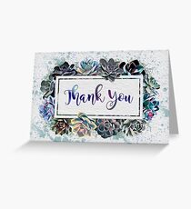 Watercolour Succulents Thank You Card Greeting Card