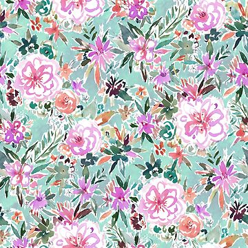 FLOATING AND FEELING Aqua Floral by Barbarian
