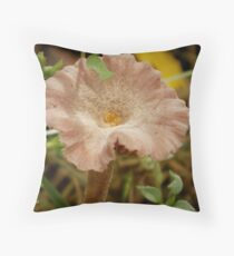 Mushroom disguised as soft-pink flower Throw Pillow