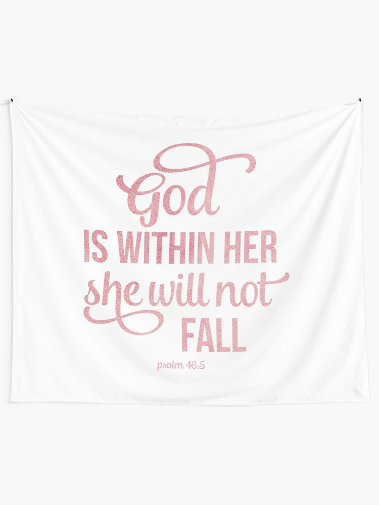Alternate view of Christian Quote Watercolor - God is within her Tapestry