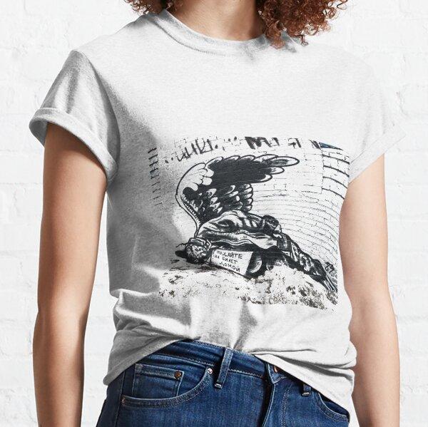 #Pavel183 #ПавелПухов #PavelPukhov #streetartist #RussianBanksy #expression #TsoiWall #graffiti #messages #rockstar #ViktorTsoi #murals #spraypainted #publicstructures #politicalmessage #Banksy Classic T-Shirt