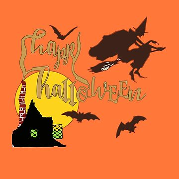 Witch flying On Broom Full moon Bats and Haunted House with Smoke Spelling Out Happy Halloween by gallerytees