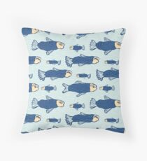 Blue Shoal of Fish, Seamless Seaweed Animal Vector Pattern Background Throw Pillow