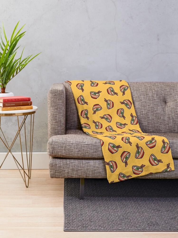 Alternate view of Ramen Bowl Pattern in Orange Throw Blanket