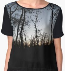 #tree #sunset #sky #trees #landscape #silhouette #winter #nature #sun #forest #sunrise #dusk #blue #morning #field #lake #fog #clouds #cloud #cold #night #evening #orange #mist #dark Chiffon Top