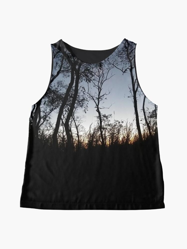 Alternate view of #tree #sunset #sky #trees #landscape #silhouette #winter #nature #sun #forest #sunrise #dusk #blue #morning #field #lake #fog #clouds #cloud #cold #night #evening #orange #mist #dark Sleeveless Top