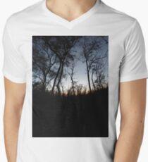 #tree #sunset #sky #trees #landscape #silhouette #winter #nature #sun #forest #sunrise #dusk #blue #morning #field #lake #fog #clouds #cloud #cold #night #evening #orange #mist #dark Men's V-Neck T-Shirt