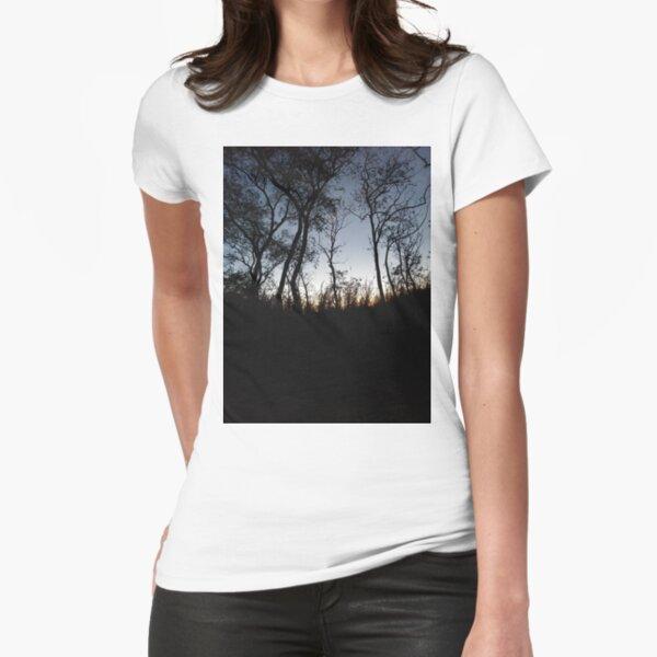 #tree #sunset #sky #trees #landscape #silhouette #winter #nature #sun #forest #sunrise #dusk #blue #morning #field #lake #fog #clouds #cloud #cold #night #evening #orange #mist #dark Fitted T-Shirt