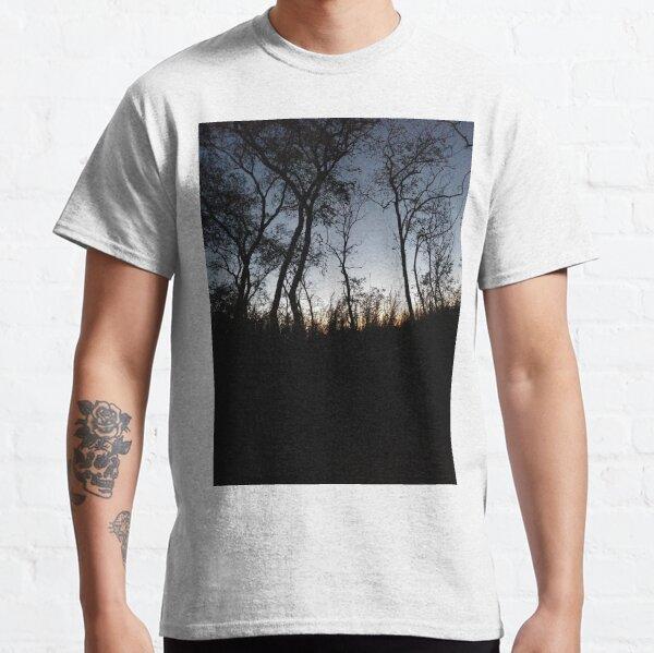 #tree #sunset #sky #trees #landscape #silhouette #winter #nature #sun #forest #sunrise #dusk #blue #morning #field #lake #fog #clouds #cloud #cold #night #evening #orange #mist #dark Classic T-Shirt
