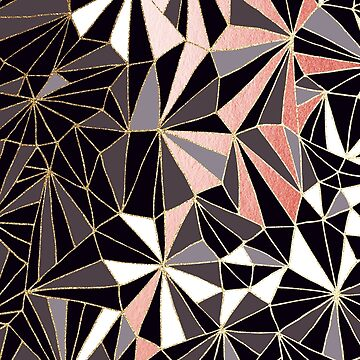 Stylish Art Deco Geometric Pattern - Black, Coral, Grey and Gold #abstractart by Dominiquevari