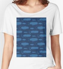 Blue Fish Silhouette, Seamless Seaweed Animal Vector Pattern Background Women's Relaxed Fit T-Shirt