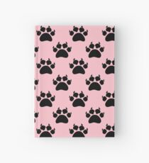 Cat Paw Print Pattern On Pink Hardcover Journal