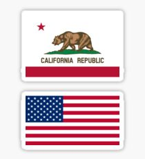 California + American (USA) Flag Sticker