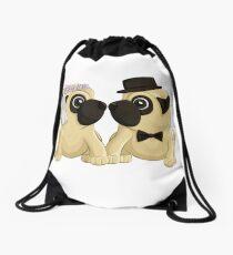 Wedding Pugs Drawstring Bag