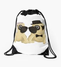 Wedding Pugs Drawstring Bag