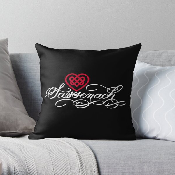Sassenach with Celtic Heart on Black Throw Pillow