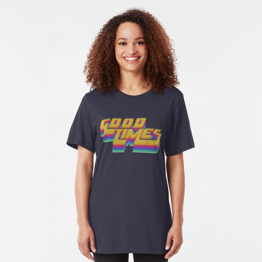 Good Times Seventies 70s T-Shirt Cool Vintage Retro Style Slim Fit T-Shirt