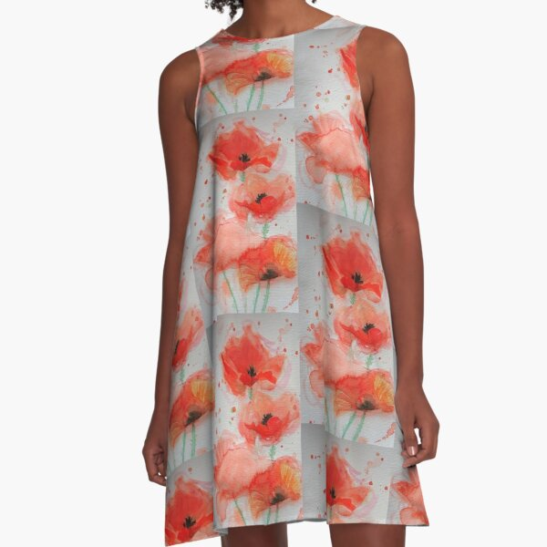 Red Poppy Watercolor Painting A-Line Dress
