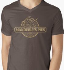 Manderly's Pies (in tan) Mens V-Neck T-Shirt