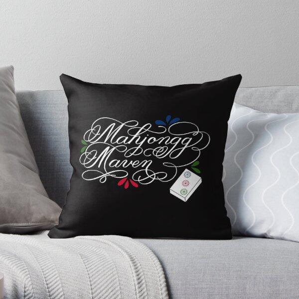 Mahjongg Mahjong Maven Design in Dark Background Throw Pillow