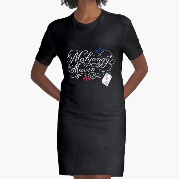 Mahjongg Mahjong Maven Design in Dark Background Graphic T-Shirt Dress