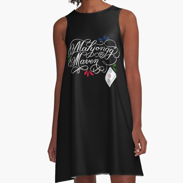 Mahjongg Mahjong Maven Design in Dark Background A-Line Dress
