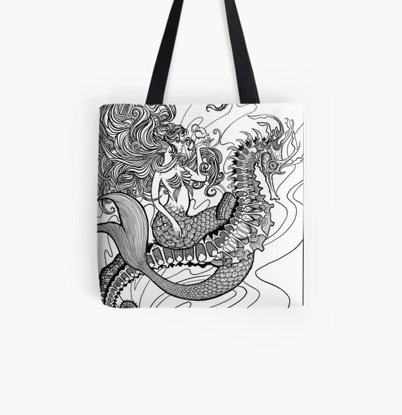 Zentangle Fox Tote Bag Mindfulness Ready to Colour in Eco Friendly Tote Bag Zen doodle
