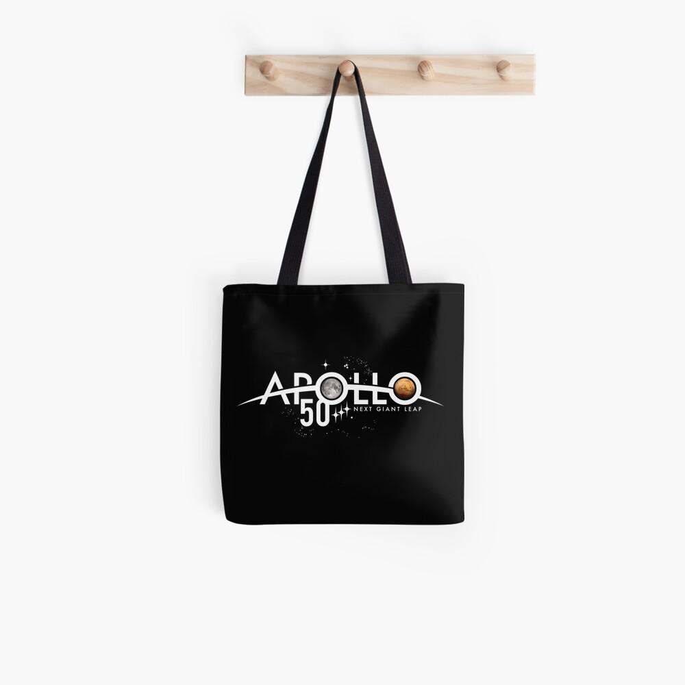 Apollo 50th Anniversary Logo - Nächster Riesensprung - Zuerst der Mond, nächster Mars! Stofftasche