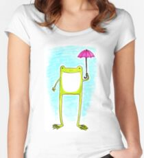 Rainy Day Frog 1 Women's Fitted Scoop T-Shirt
