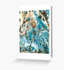 Acrylic Pour Teal and Coral Greeting Card