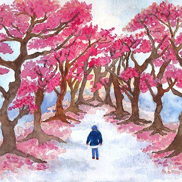 Springtime Cherry Blossom Path Print by Lallinda