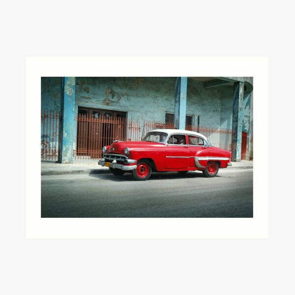 1953 Chevrolet Bel-Air Sedan 4D Red, Cuba Art Print