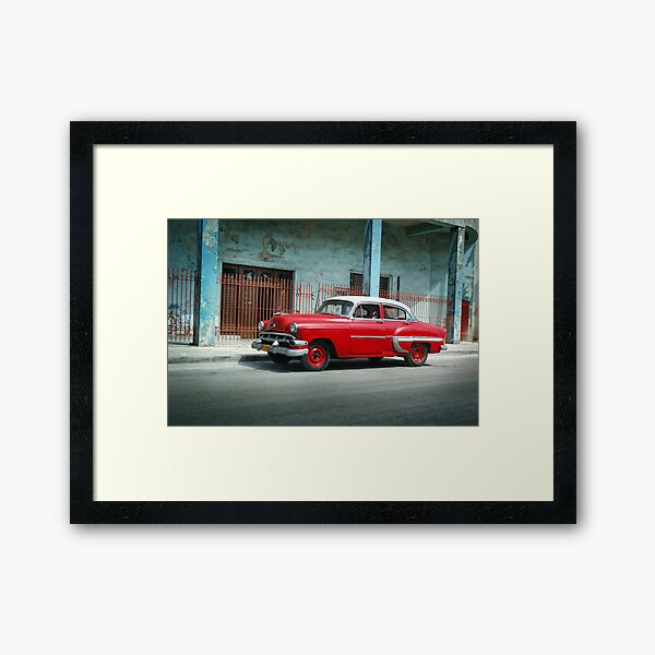 1953 Chevrolet Bel-Air Sedan 4D Red, Cuba Framed Art Print