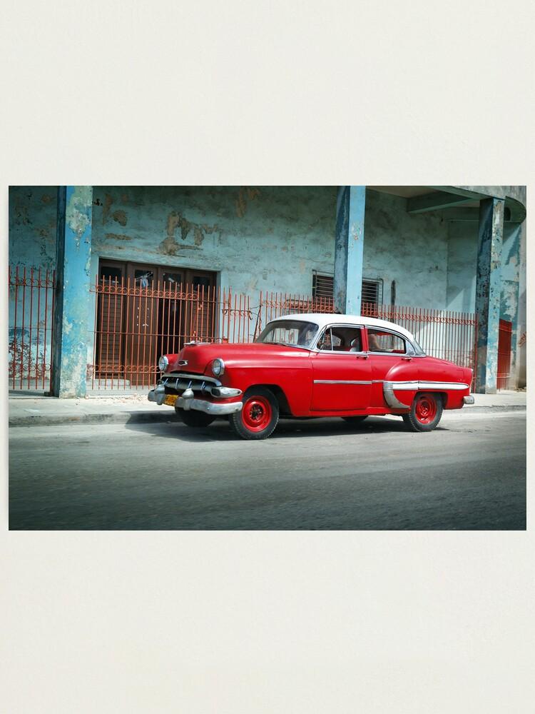 Alternate view of 1953 Chevrolet Bel-Air Sedan 4D Red, Cuba Photographic Print